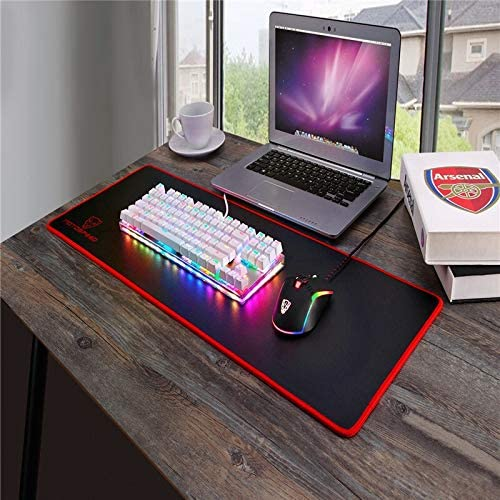 HUOGUOYIN Gaming Keyboard Wired Mechanical Keyboard with RGB Backlight Blue Switch for Computer Gaming and Tying White 1.8mCable Keyboard Axis Body : Red Switch, Color : K87S