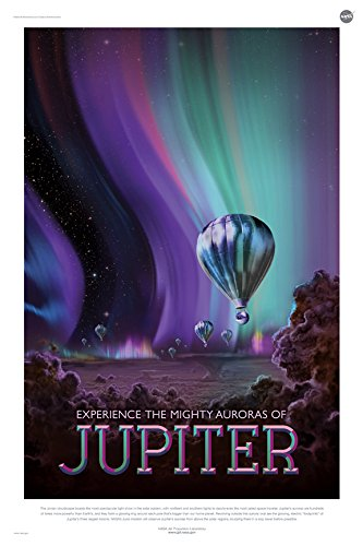 Jupiter Experience The Mighty Auroras - NASA Jpl Space Tourism Travel Poster Unframed