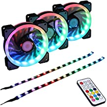 LEDdess Wireless RGB LED 120mm Case Fan with Controller for PC Cases, CPU Coolers, Radiators system (3pcs rgb fans, 2pcs led strips, 2nd Gen RF Remote Control, A Series)