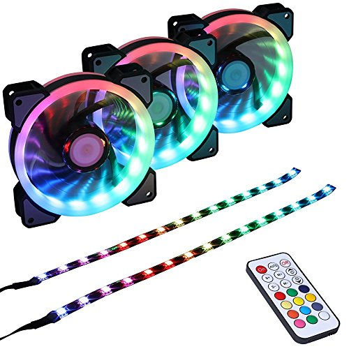 LEDdess RGB LED 120mm Case Fan with Controller for PC Cases, CPU Coolers, Radiators system (3pcs rgb fans, 2pcs led strips, 2nd Gen RF Remote Control, A Series) by LEDdess (Image #8)'