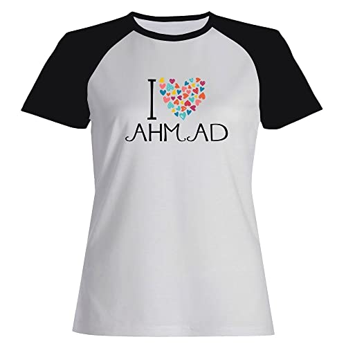Idakoos I love Ahmad colorful hearts – Nomi Maschili – Maglietta Raglan Donna