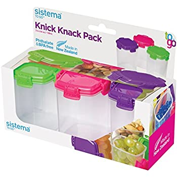 Sistema To Go Collection Medium Knick Knack Pack Food Storage Containers,  4.6 Ounce Each,