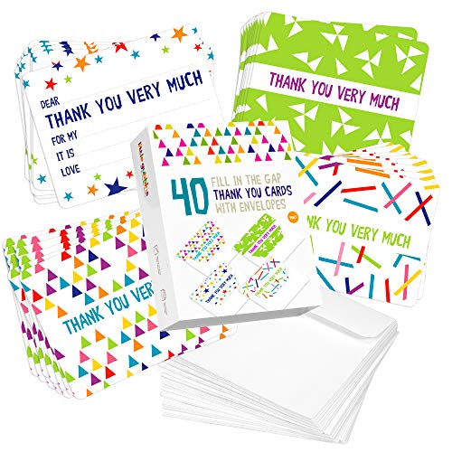 40 x kids thank you cards set | Fill in the blank section for children to add a personalized note | Cards in 4 fun designs with envelopes | Bulk pack for boys and girls