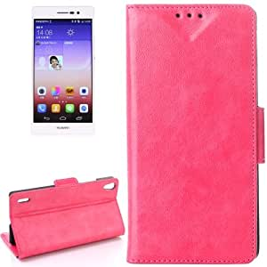 Oil Funda con tapa Case Cover bolsillos interiores & Holder para Huawei Ascend P7 () Magenta