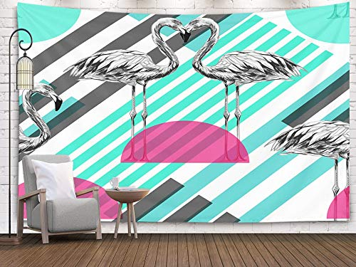 ROOLAYS Home Art Decor Wall Hanging Tapestry Beautiful Fashionable Pattern Background Flamingos Exotic Birds Abstract Striped Geometric with 60x50 Inches for Living Room Dorm Background ()