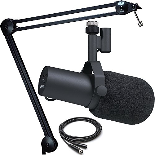 Shure SM7B Broadcast Microphone with Heil Sound PL2T Topless Microphone Boom Mount and Cable