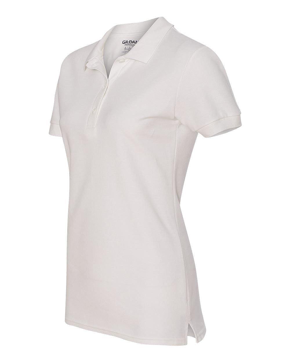 G828L White Double Pique Sport Shirt Pack of 12 L Gildan Premium Cotton 6.5 oz