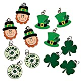 St. Patrick's Day 12-Pc Charms Set Enamel Shamrock Irish Leprechaun