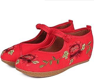 AJUNR-Scarpe da Donna alla Moda Vecchia Pechino Scarpe di Tela Il Popolo della Cina Il Vento Ricamo Calzature Donna Tavola di Acqua Salire Entro Il Han Dance Dance Scarpa