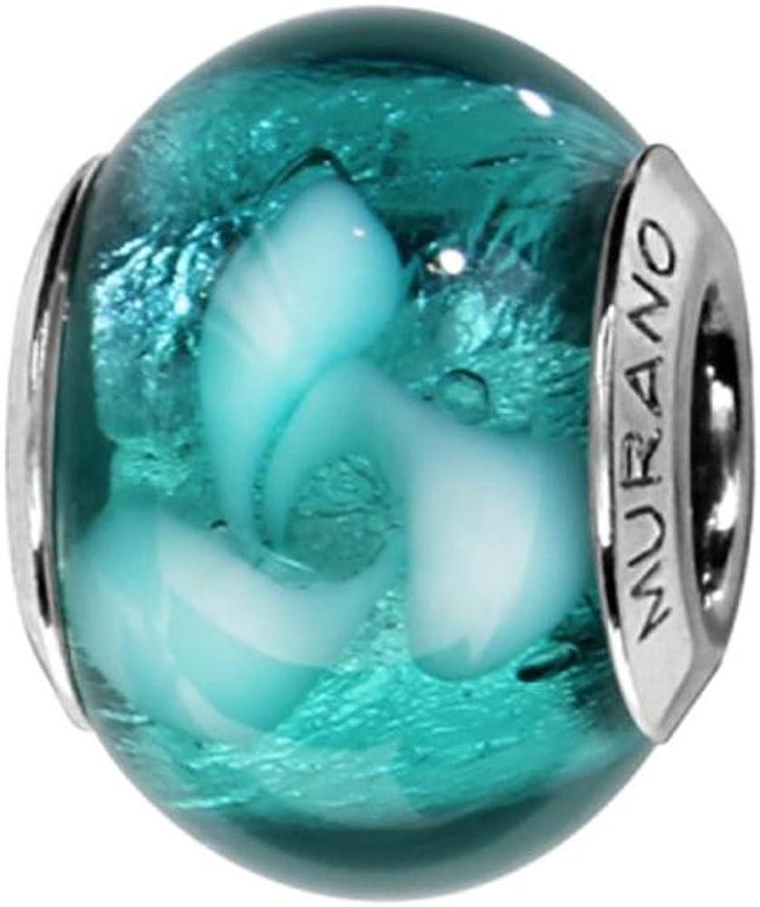 Bijoux Laperledargent Charms Argent 925 Perle Murano Turquoise avec Motifs