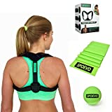 SPOEVO Back Posture Corrector For Women & Men - Includes Back Straightener Posture Brace, FREE Resistance Band & Massage Ball for Natural Spine Alignment & Posture Support