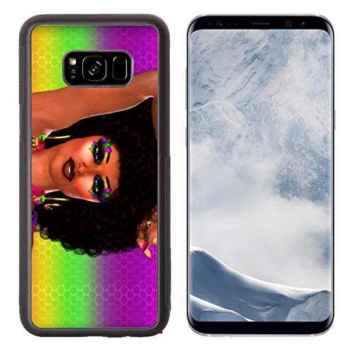 Liili Premium Samsung Galaxy S8 Plus Aluminum Backplate Bumper Snap Case IMAGE ID 33364864 Dance Party Invitation from Retro Diso Woman with Afro Hairstyle