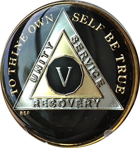 5 Year Classic Black AA Alcoholics Anonymous Medallion Sobriety Chip Tri Plate Gold & Nickel Plated Serenity Prayer
