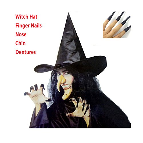 Tmalltide Halloween Decorations 5Pcs Adult Witch Dress Up With Hat Finger Nails ,Nose,Chin,Dentures (Witches Dress Up)
