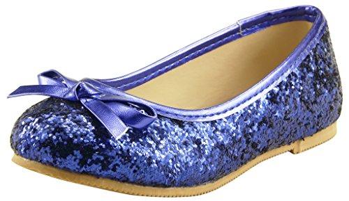 The Doll Maker Bow Top Glitter Flat-FBA173032C-13, Blue, 13 M US Little -