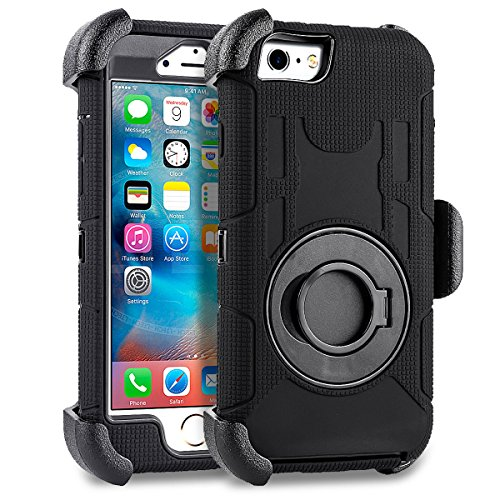 Compatible for iPhone 6 6S Case 4.7 inch, PlusMall Rugged Shockproof Hybrid Protective Case Back Cover with Swivel Belt Clip Hard Holster Defender Case Ring Rotating Kickstand (Black)