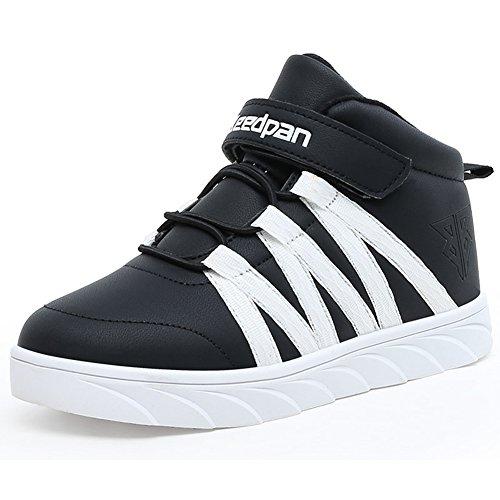 Hoxekle Breathable Plus Velvet Casual Sneaker For Boys Girls Velcro Kids Slip Sports Walking Tennis Shoes Black White