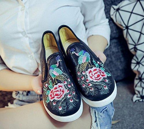 Lær Kinesisk Stil Lazutom Kvinner Slip Svart Sneaker on Dagdriver Broderi Pu Dame Sko qgAItUF