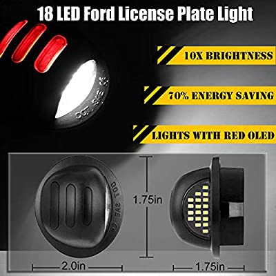 Heart Horse License Plate LED Light Rear Compatible Lamp Replacement with Red OLED Neon Tube for Ford F150 F250 F350 Bronco Ranger Explorer Excursion Expedition: Automotive