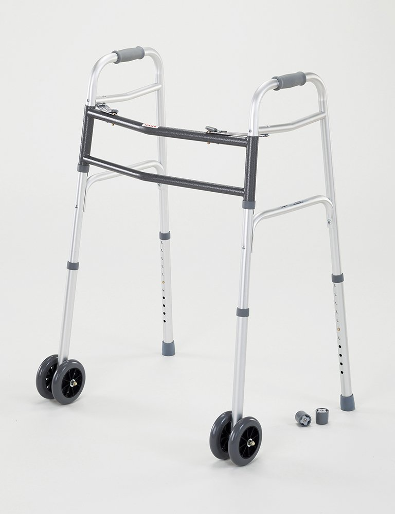 Cardinal Health CWAL0010B Double Push Button Walker with Double Wheels in Front, 33.5 in.-43.25 in. Height