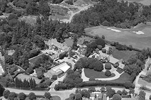 Vintography 18 x 24 B&W Photo of Aerial View of Hugh Hefner's Mansion Located in Los Angeles, California 2012 Highsmith 19a (Best Mansions In Los Angeles)