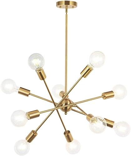 HDLERUI Modern Sputnik Chandelier Lighting 10 Lights with Adjustable Arms Mid Century Brushed Brass Pendant Lighting for Foyer Living Room Kitchen Lighting