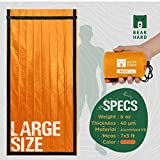 Bearhard Emergency Sleeping Bag Emergency Bivy Sack Ultralight Waterproof Thermal Survival Bivvy Cover with Heat Retention for Camping, Hiking & Emergency Shelter Orange