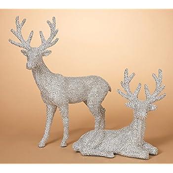 20 Inch High Set of 2 Silver Rhinestone Deer - Christmas Reindeer in Glittered Rhinestone