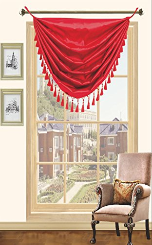 Red Faux Silk Window Grommet Valance Wiith Fringe Valances - 36