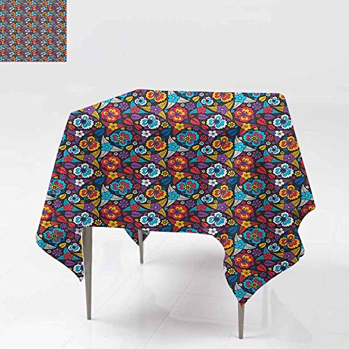 Lively Leaves Desk Topper - AndyTours Tablecloth for Kids/Childrens,Colorful,Scroll Pattern in Aloha Style Lively Blossoms and Leaves Classical Romantic Art,for Events Party Restaurant Dining Table Cover,60x60 Inch Multicolor