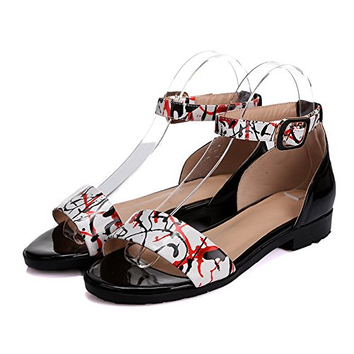 AmoonyFashion Womens Buckle Low-heels Cow Leather Assorted Color Open Toe Sandals Black spEtLY29