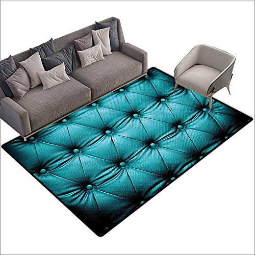 (Floor Mats for Living Room Turquoise Decor Collection,Buttoned Couch Sofa Bed Headboard Leather Cover Luxurious Upholstery Art,Dark Teal 80