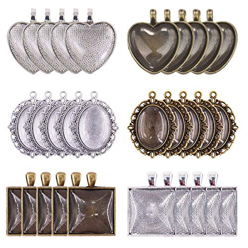 LANBEIDE 60-Pieces 3 Style Heart & Oval & Square 30 Pieces Bezel Pendant Trays with 30 Pieces Glass Cabochon Dome Tiles Clear Cameo for Crafting DIY Jewelry ()