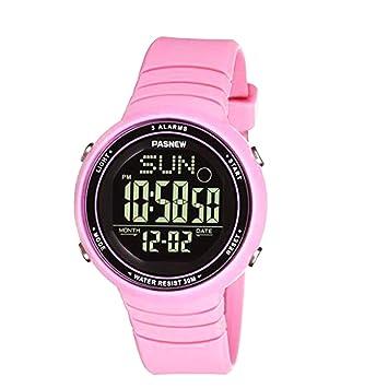 WLH Reloj Deportivo Digital Gran Pantalla Relojes para Niños Niñas Estudiantes Jovenes Y Simple Reloj Impermeable Casual Luminoso Cronómetro Alarma,Pink: ...