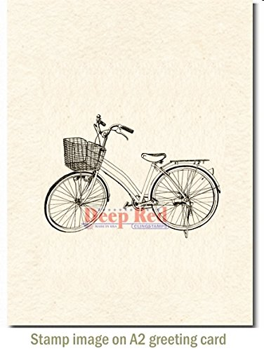 Bicycle Rubber Stamp - Deep Red Stamps 3X505524 Cling Stamp, 2.25