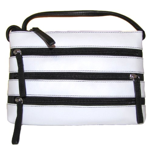 Cross White Black body Handbag Zipper Leather YxOgzn8n