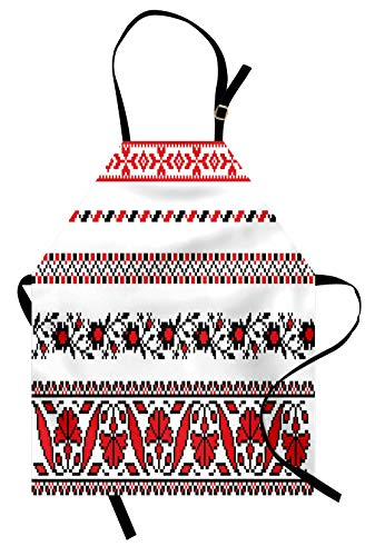 Lunarable Antique Apron, Traditional Ukrainian Borders Set Classical Vintage Lace Like Tile Print, Unisex Kitchen Bib with Adjustable Neck for Cooking Gardening, Adult Size, Black Red