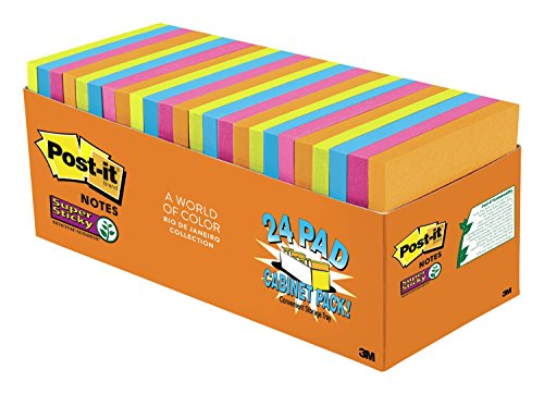 Post-it Super Sticky Notes, 3 in x 3 in, Rio de Janeiro Collection, 24 Pads, 70 Sheets/Pad, Cabinet Pack - Rio Del Stores