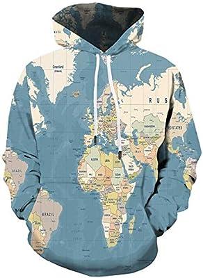 FGVBWE4R Mapa del Mundo 3D Sudadera con Capucha Hombres Hip Hop Sudadera Vintage Graffiti 3D Hoodies Divertido para Hombre Ropa con Capucha Sudaderas Moda