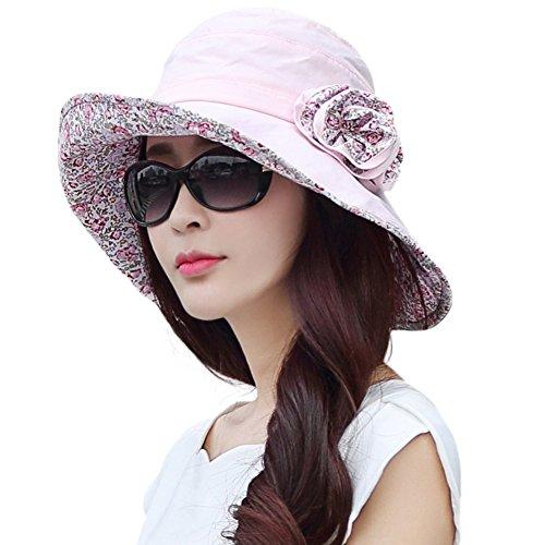 Siggi Bucket Boonie Cord Fishing Beach Cap Summer Sun Hat Wide Brim for Women UPF50+ Pink ?-