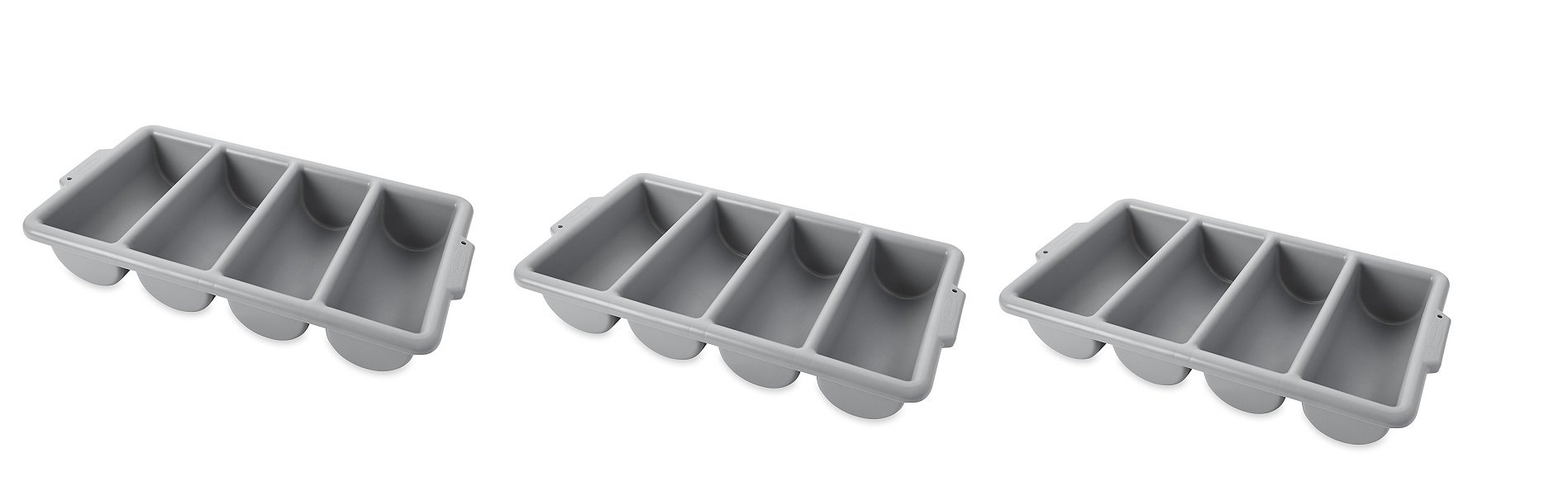 Rubbermaid Commercial FG336200GRAY 4-Compartment Cutlery Bin, Gray (3 PACK,) by Rubbermaid Commercial Products