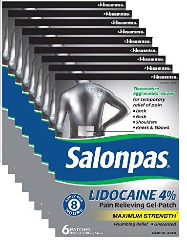 Salonpas 4% LIDOCAINE Patches (9 Pack Bundle) Pain Relieving Maximum Strength Lidocaine Gel Patches! by Salonpas