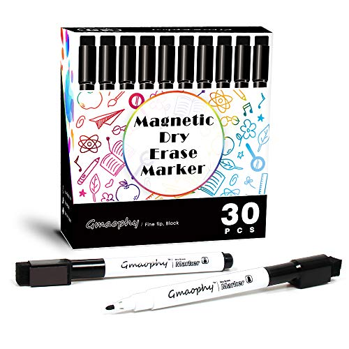 Magnetic Dry Erase Markers - 30 Pcs Black Whiteboard Markers with Eraser Cap, Low Odor Dry Erase Markers for Glass/Whiteboard/Porcelain/Plastic/School/Office