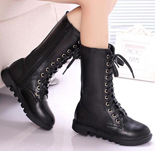 without Kid Lace Boots Calf Zipper Little Toddler Combat Leather Girl's Up Kid Big DADAWEN Fur Boy's Mid Winter Black AZwqFgTp