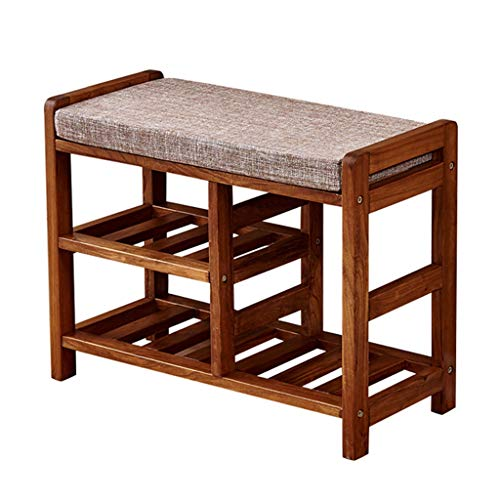 ZHAOYONGLI Stolls Storage Benches Chinese Solid Wood Doorway Change Shoe Bench Shoes Bench Cloakroom Shoebox Shoe Bench (Color : Three-Layer Boots are Waxy)