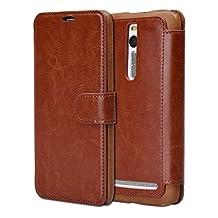 "Asus Zenfone 2 Case, Tisuns [Layered Dandy] Asus Zenfone 2 Wallet Case [Wallet Case] [Slim] Premium Protective Case Wallet Leather Case for Zenfone 2 (5.5 "") ZE550ML / ZE551ML (Brown)"
