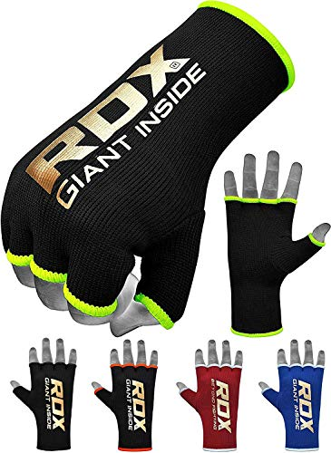 RDX Boxing Inner Mitts Hand Wraps MMA Fist Protector Bandages,Black/Green,Small