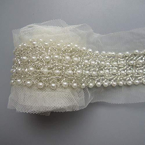 1 Yard Pearl Beads Decorative Tape Lace Edge Trim Ribbon Band 3 cm Width Vintage Style Ivory Edging Trimmings Fabric Embroidered Applique Sewing Craft Wedding Bridal Dress Party Clothes Decor