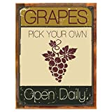 Wood-Framed Pick Your Own Grapes Metal Sign, Vineyard, Wine Making, Outdoor Lifestyle on reclaimed, rustic wood For Sale