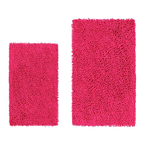 LuxUrux Bathroom Rug Set-Extra-Soft Plush Bath mat Shower Bathroom Rugs,1'' Chenille Microfiber Material, Super Absorbent(Rectangular Set, Hot -